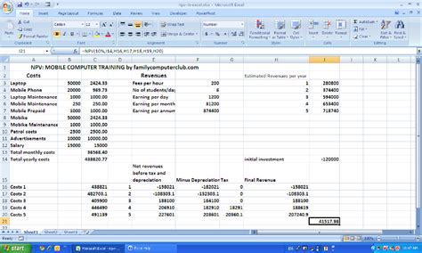 excel net present value template npv ms excel