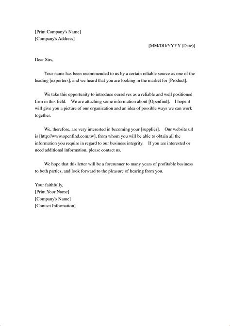 Company Introduction Letter Supplier Letter To Company Format Gallery Letter Sles Format