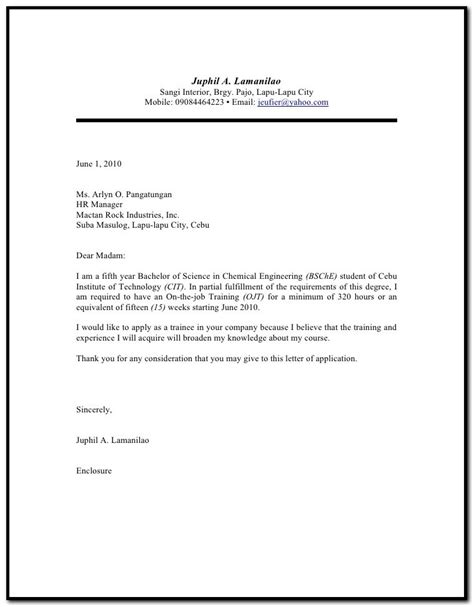 sle of resume letter for ojt sle cover letter for resume ojt cover letter resume