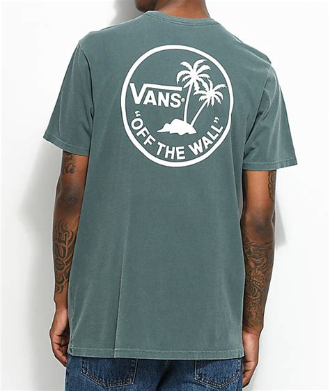 T Shirt Kaos Vans Vans Palm Circle Green White T Shirt Zumiez