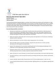 Diversity Specialist Cover Letter by Cover Letter And Resume Casa Docx Diversity Recruitment Specialist Child Advocates 40 000