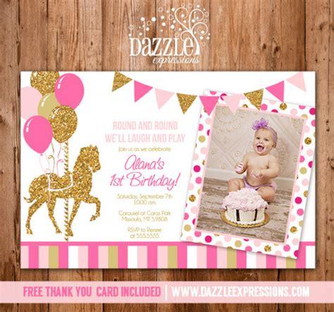 printable pink  gold carousel birthday photo invitation girl birthday party glitter