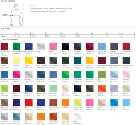 gildan t shirt color chart joe s usa gildan 2000 ultra cotton t shirt wholesale