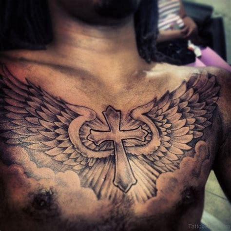 cross with wing tattoo 59 looking cross tattoos designs for chest