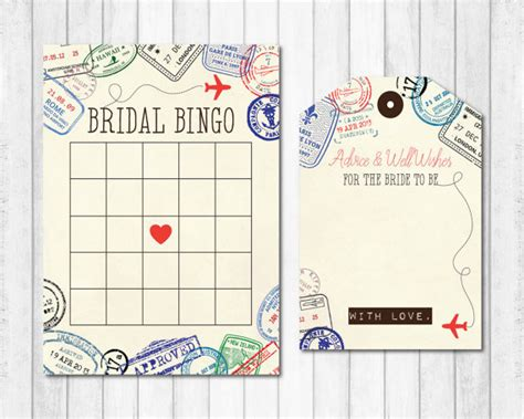 bridal bingo bridal shower travel themed bridal bingo
