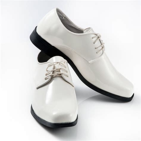 ivory tuxedo shoes patent leather square toe mens