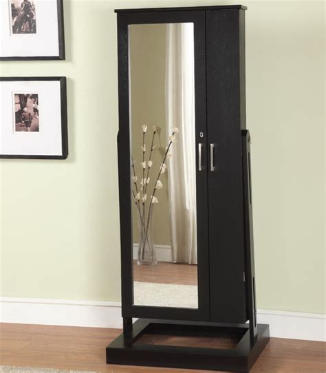 black espresso floor full length mirror with jewelry storage with dark wooden laminate storage