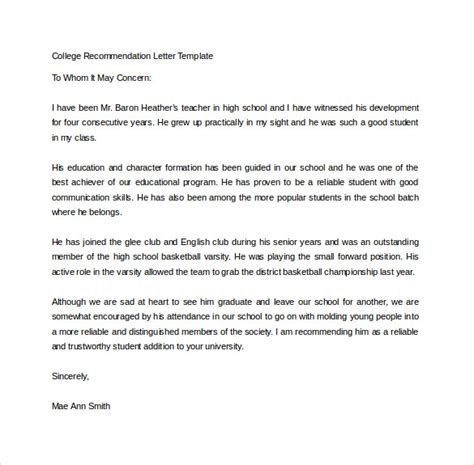 Business Letter Template High School recommendation letter for high school student going to