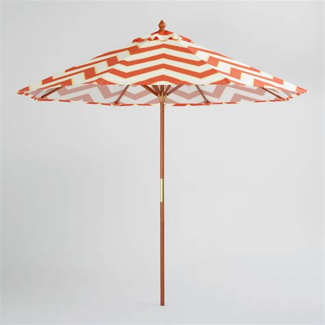 9 Orange Chevron Umbrella World Market World Market Patio Umbrellas