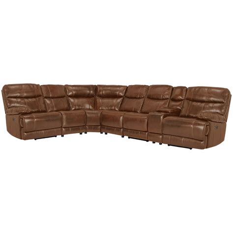 Large Reclining Sectional City Furniture Liam Medium Brown Leather Vinyl Large
