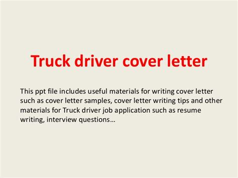 Thank You Letter After For Driver Truck Driver Cover Letter