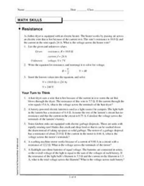 reading resistors worksheet resistance 9th 12th grade worksheet lesson planet
