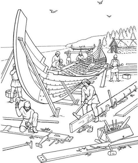 coloring page house boat viking ship building coloring page vikings for kids