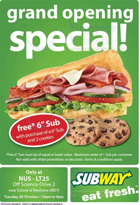 Subway Gift Card Discount - subway 30 oct 2012 187 subway 1 for 1 promotion nus lt25 near school of medicine 30