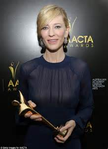 cate blanchett shines in sheer blue dress to accept her