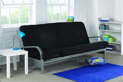 futon black silver metal arm futon with 6 quot black mattress dhp furniture