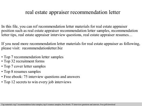 Appraisal Letter Of Recommendation Real Estate Appraiser Recommendation Letter