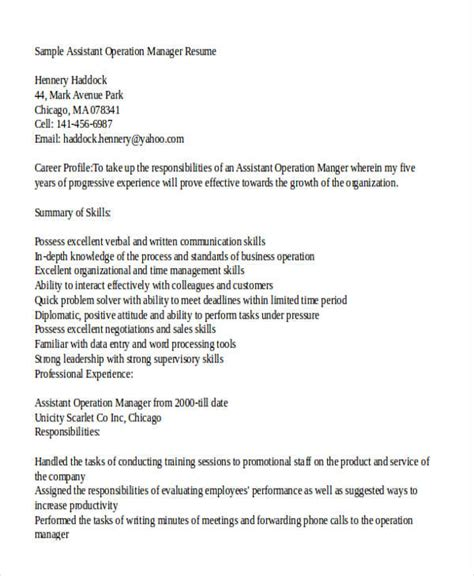 Operations Associate Sle Resume by Operations Assistant Manager Resume 28 Images Operations Assistant Cover Letter Sle