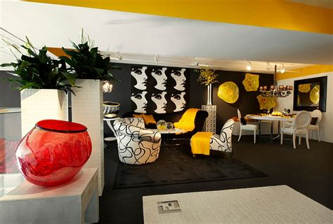 yellow black and white living room artistic black and white living space with bold yellow accents