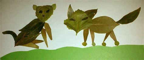 membuat kolase binatang prakarya daun kering kucing dan serigala