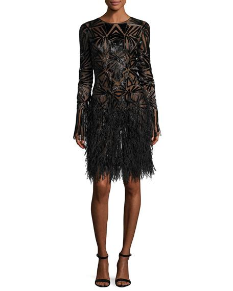 beaded feather dress lhuillier beaded sleeve feather skirt dress