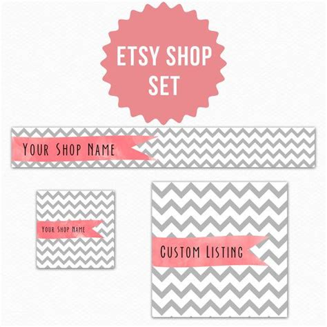 etsy banner template chevron watercolor instand psd template for etsy