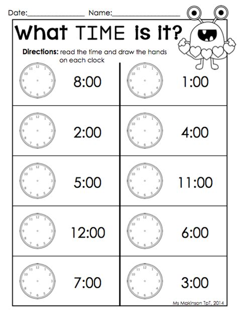 printable clock preschool february printables kindergarten literacy and math