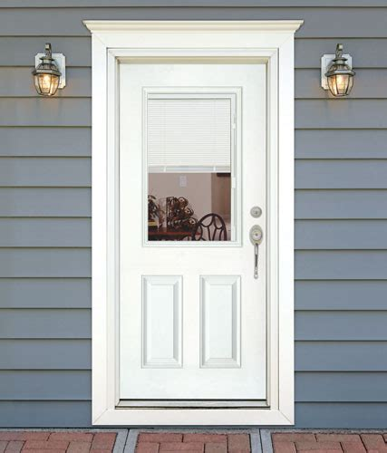 Exterior Door With Blinds Feather River Door Fiberglass Entry Doors Mini Blinds Smooth White Door Flickr Photo