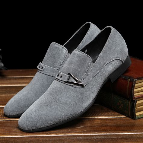 genuine leather buckle cool black dress shoes