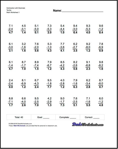 Subtracting Decimals Worksheet by Adding And Subtracting Decimals Worksheets Pdf Worksheets