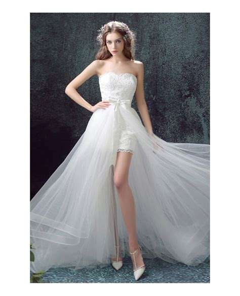 2 In 1 Hochzeitskleid by 2017 Flowy Tulle High Low Wedding Dresses With