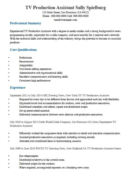 Production Resume Template television production assistant resume sle inside