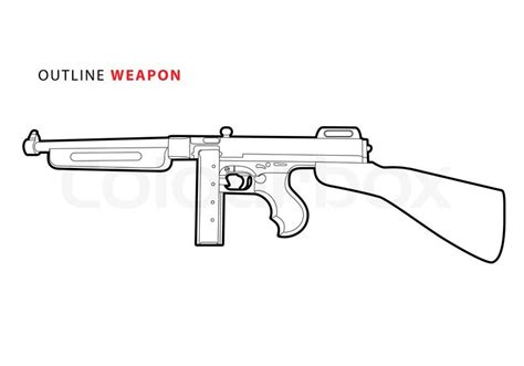 Outline vector tommy gun on white background   Stock