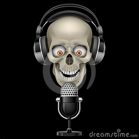 Earphone Mic Skull skull with headphones with microphone royalty free stock photography image 24603597