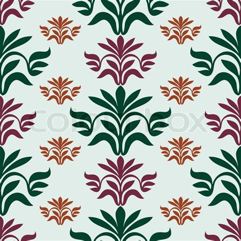 fabric pattern design vector vintage beautiful background with leaf ornamentation