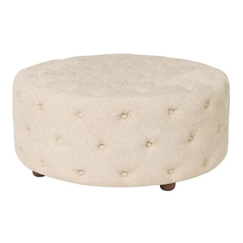 tufted round cocktail ottoman aviary beige linen button tufted round cocktail ottoman