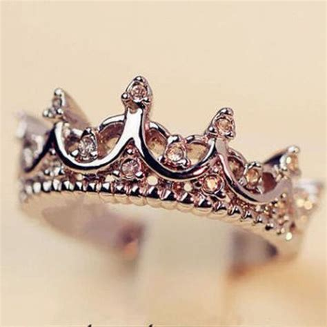 fashion princess silver rhinestone crown ring size 7
