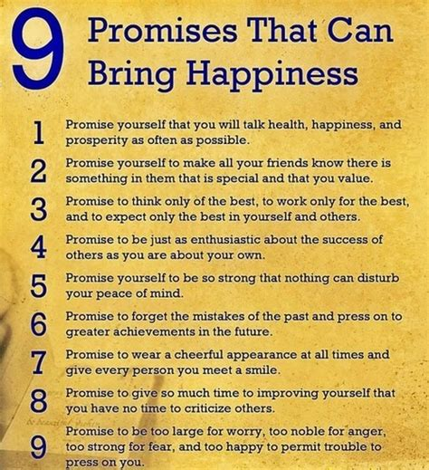 7 Best Promises For Happiness 9 promises that can bring happiness by wooden