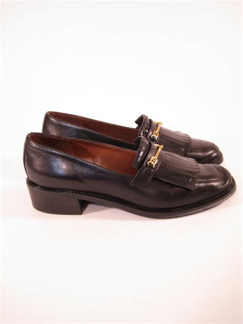 etienne aigner loafers black leather loafers gold hardware size 6 etienne