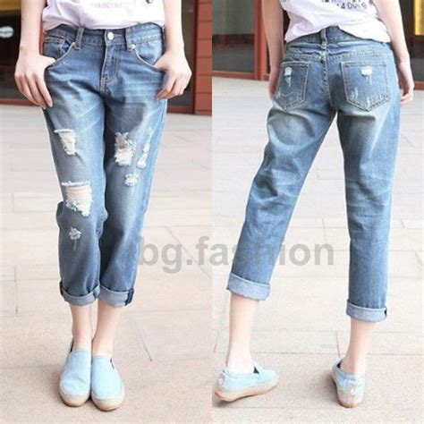 384lpl New Crop Leo Korea new crop ripped distressed boyfriend