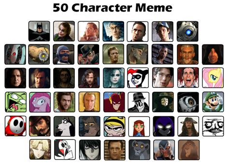 Meme Characters List - 50 characters meme by sw101 on deviantart