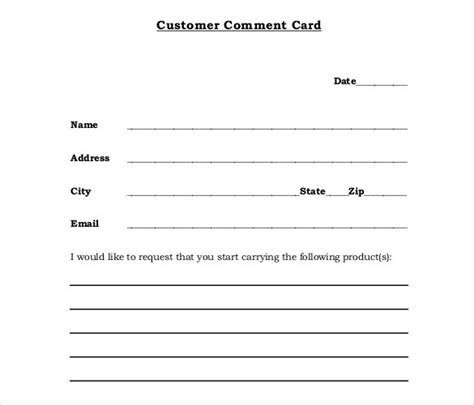comment cards templates pin customer comment cards for restaurants templates on