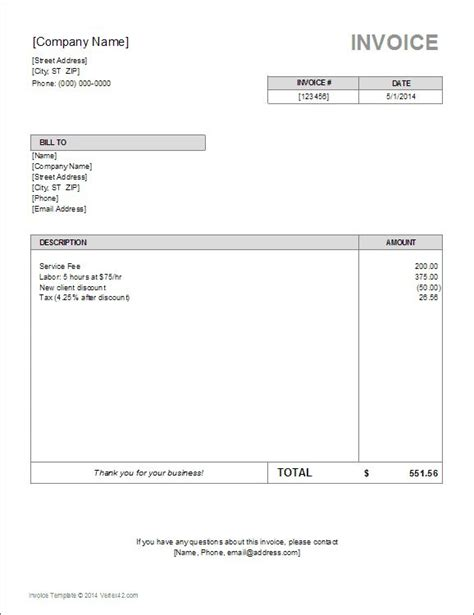 Download The Basic Invoice Template From Vertex42 Com For The Home Pinterest Specimen Invoice Template