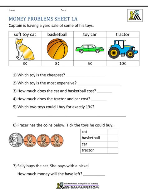 Money Word Problems Worksheets by Money Worksheets For Grade