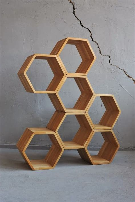 Rak Hexagonal hexagon stacking box display honeys by divadlo regale