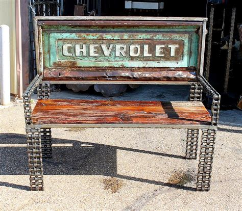 bench made from truck tailgate buy a custom reclaimed timber car part truck tailgate metal bench outdoor garden