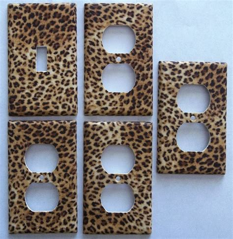 cheetah shower curtains bath accessories leopard animal print girls light switch plate bedroom