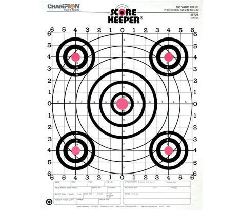 printable 22lr targets chion 100 yard score keeper fluorescent target