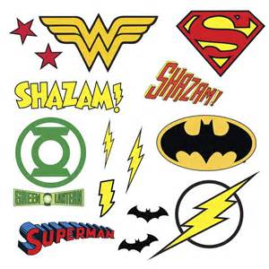 dc comics superhero logos 16 wall decal superman batman dc super hero girls star wall decal set set