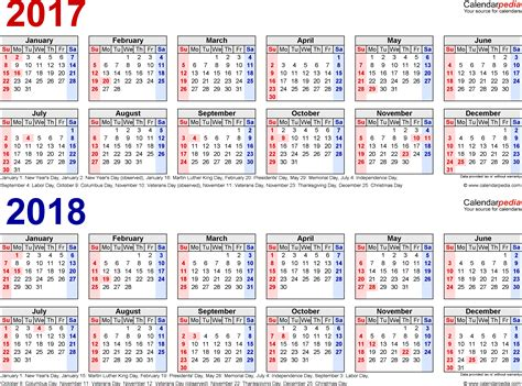 Calendario W 2017 2018 Calendar Free Printable Two Year Excel Calendars